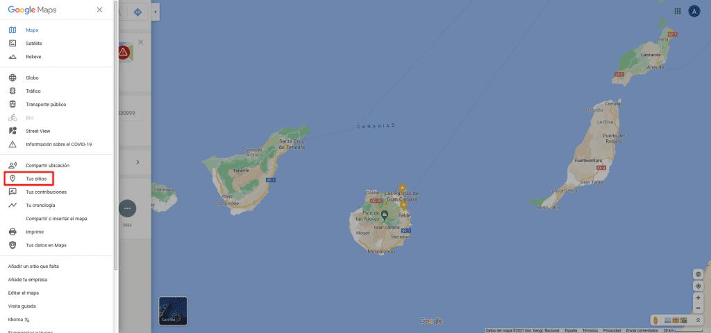 Google Maps, Menú Tus Sitiso