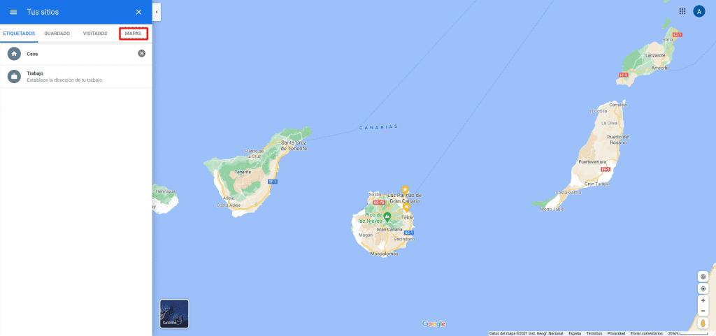 Google Maps, Tus Sitios, Mapas