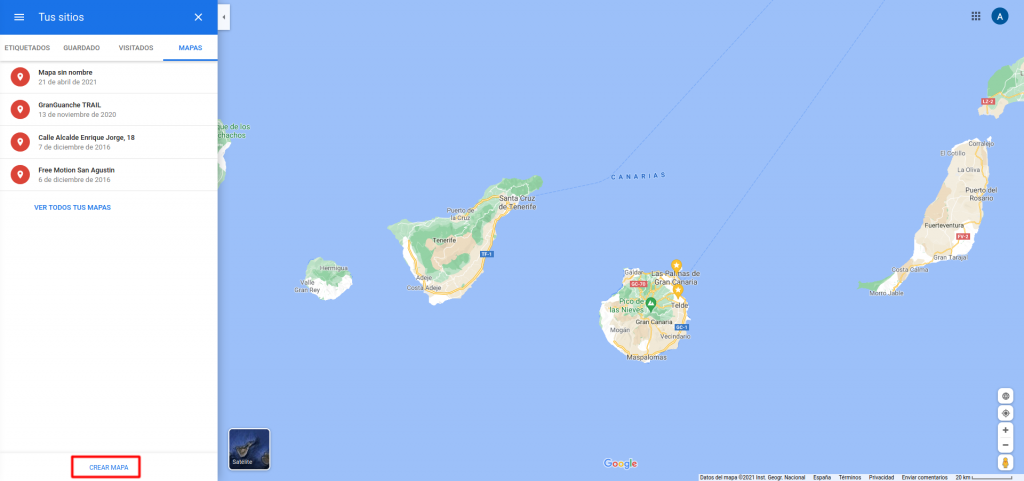 Google Maps, Tus Sitios, Nuevo Mapa