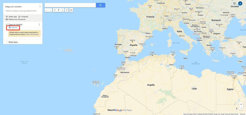 Google Maps, Tus Sitios, Importar Mapa