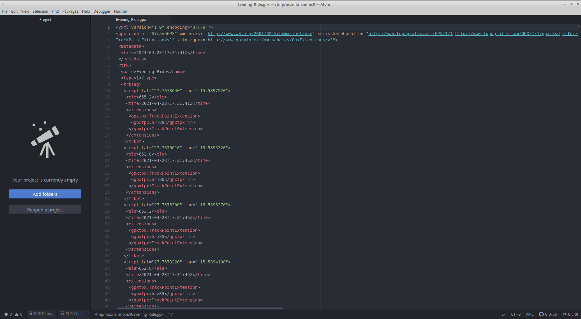 Datos archivo GXP